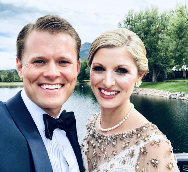 A quick selfie on our wedding day.