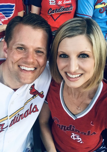Watching a Cardinals baseball game in St.Louis, Missouri.