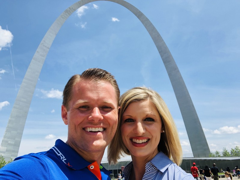 Visiting the Gateway Arch in St. Louis, Missouri.