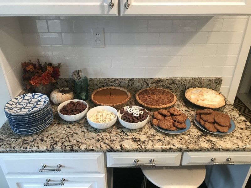 The dessert table at Thanksgiving.