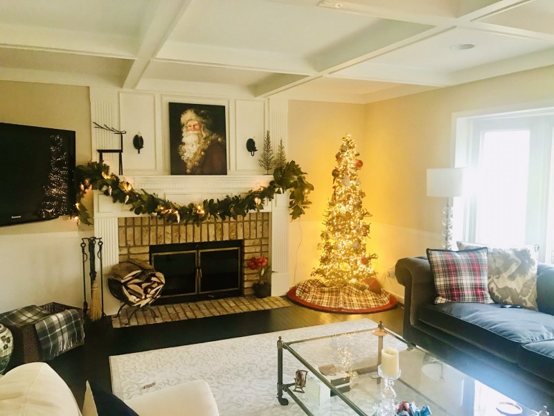 Our living room at Christmas.