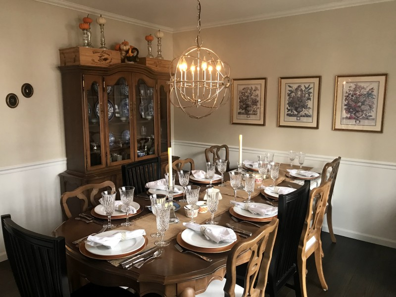Our dining room, set for Thanksgiving dinner.