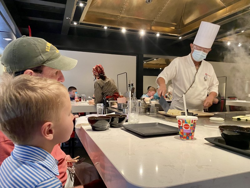 We always go out to eat on our last night of vacation. It helps make the end of vacation more special. This trip we went to have hibachi- a favorite of ours.