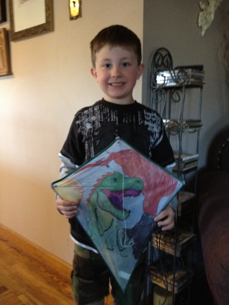 Coloring a kite with my nephew