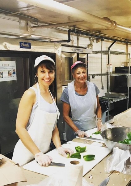 Me and Steve's mom volunteering at the soup kitchen