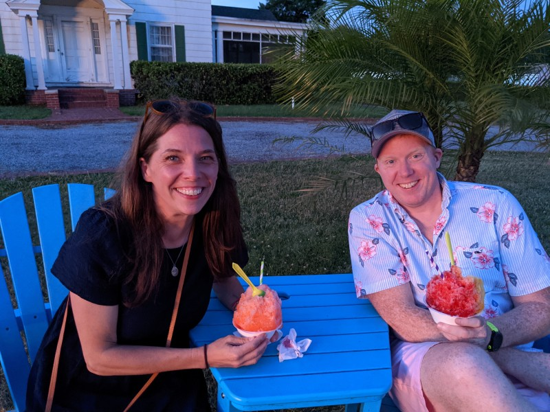 Trying out some shaved ice in Delaware,