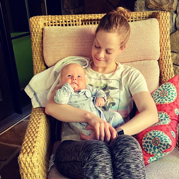 Laura meeting baby Dean for the first time