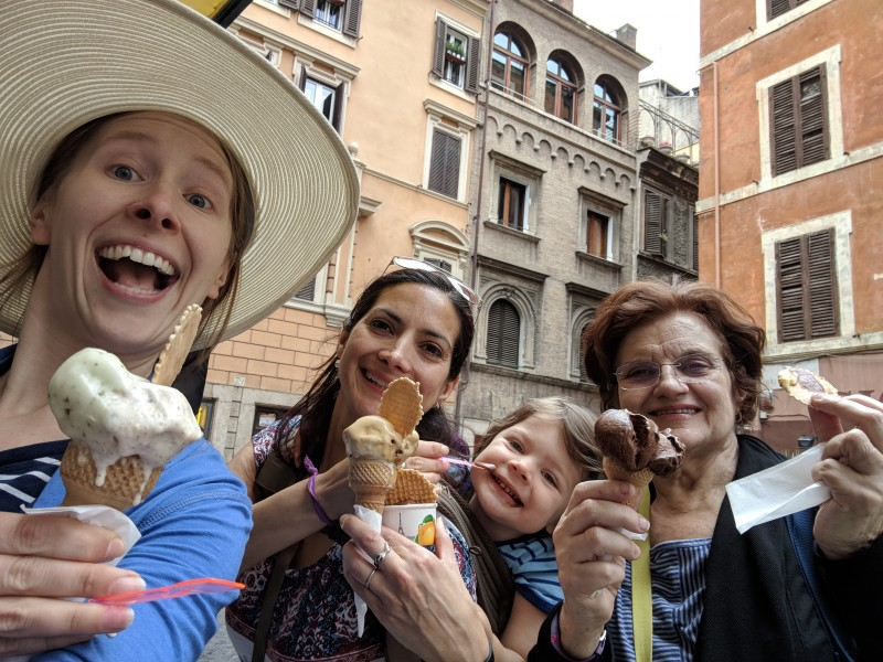 Eating gelato in Rome, Italy, with David's mom & sister, 2019