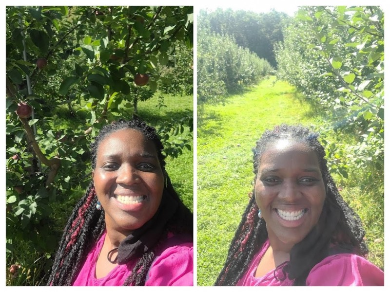 Me in the apple orchard-collage