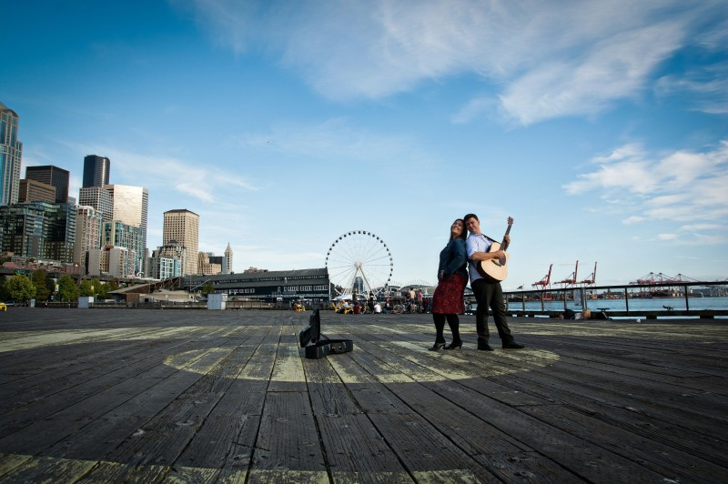 Just hanging out on the waterfront, playing some guitar!