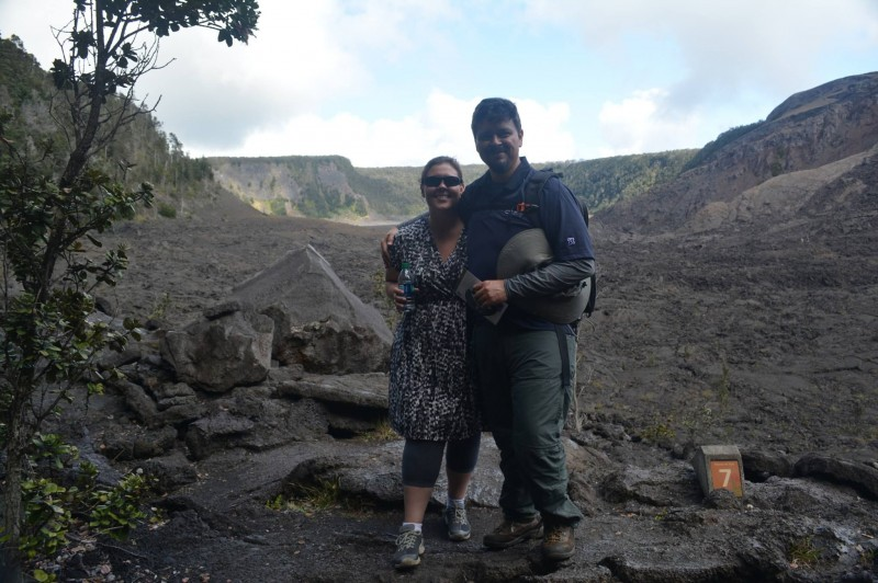 Hiking in a dormant volcano on the Big Island of Hawaii on our honeymoon