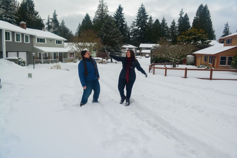 Snowball fight on our road- It's a snowy winter wonderland here a few times a year