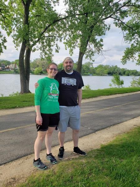 Jeff and Kelli walking in a Rockford park