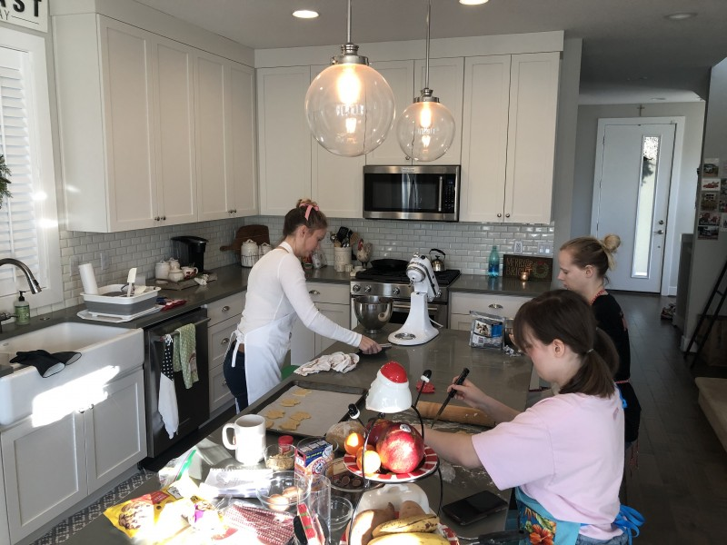 Christian loves baking with her nieces.