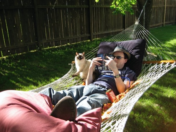 Quality time in the hammock with a book.