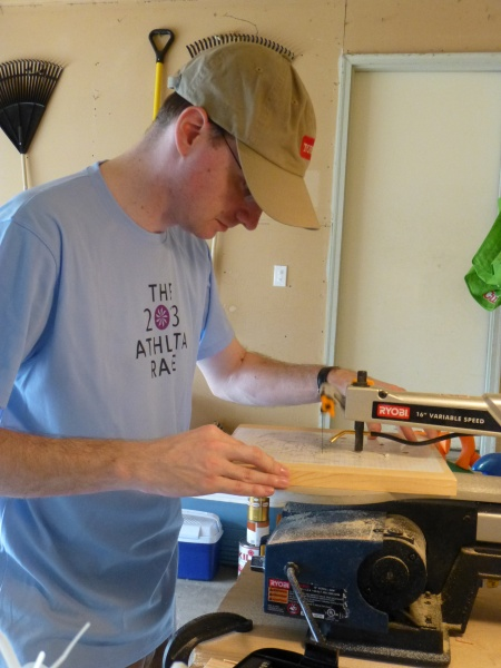 Mike does a lot of woodworking in the garage.