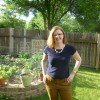 Kristia & her garden, no giant pumpkins yet.