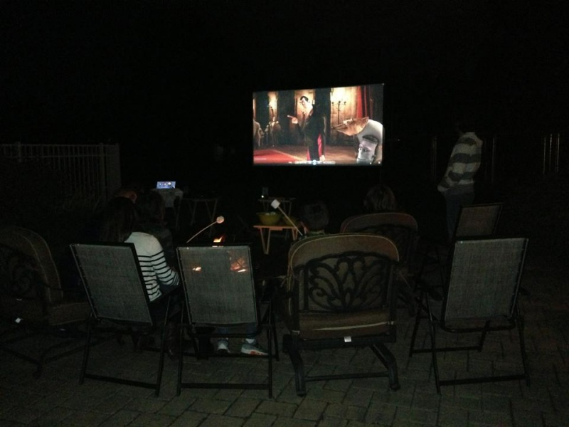 Outdoor movie night with s'mores by the fire pit