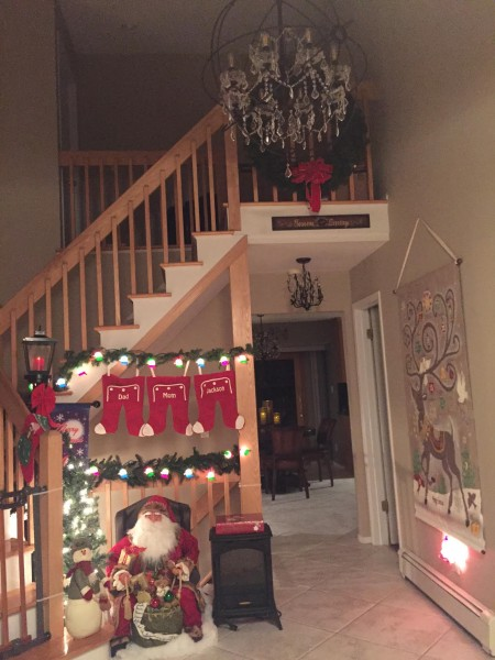 The foyer decorated for Christmas