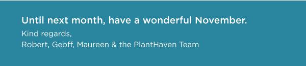 PlantHaven eBrief Newsletter - November 2018
