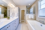 Elegant master bath with dual sinks