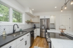 Granite counters and stainless appliances.