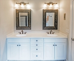 Dual sink vanity in owners bathroom