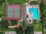 Overhead view of tennis courts  community pool !