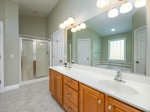 Master bathroom with double sink vanity