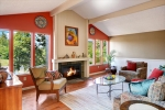 exposed beams vaulted ceilings and cozy fireplace