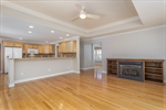 Open living and kitchen area with beautiful hrdwds