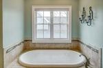 Large soaking tub with beautiful tile surround