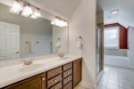 Owners bathroom with large dual sink vanity