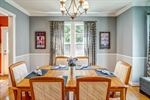 Beautiful dining room with bump out window