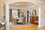 Dining room features ornate ceiling details