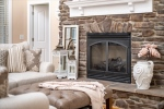 Raised hearth and gas fireplace