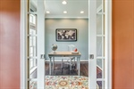 Home office with pocket doors for privacy