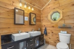 Modern yet rustic master bath w heated floors
