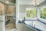 Gorgeous marble shower and dual soaking tub