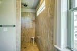 European shower with rainfall shower head