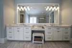 Double vanities and a makeup area