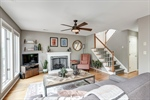 Great room with brick gas fireplace