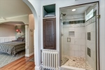 Walk-in shower and linen closet