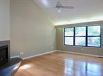 Wood floors and accent lighting in living room