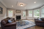 Living room with Gas Fireplace and Bay Window