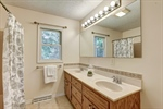 Owners bathroom with double vanity