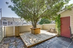 Shaded courtyard with deck and bar