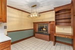 Breakfast area with gas fireplace