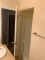 Hall bath with shower stall behind door