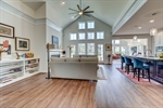 Vaulted great room with wall of windows